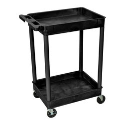 Luxor Furniture - 24 in. Tub Utility Cart w 2 Shelves in Black - Four heavy duty 4 in. casters, two with brake. Stain, scratch, dent and rust resistant. Retaining lip around back and sides of flat shelves. Push handle molded into top shelf. Reinforced with two aluminum bars. Made of high density polyethylene structural foam molded plastic. Made in USA. Clearance between shelves: 26 in.. Tub shelf: 2.75 in. D. Overall: 24 in. L x 18 in. W x 37.5 in. H. Warranty. Assembly Instructions