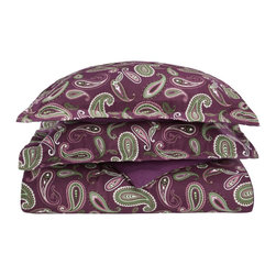 Flannel Twin Duvet Set Paisley - Purple - Our Flannel Duvet Covers are made from premium quality cotton. The flannel is also thoroughly brushed in order to ensure optimal softness and comfort. Each is available in solid or paisley colors and includes a duvet cover and two pillow shams (one pillowsham for Twin and Twin XL).