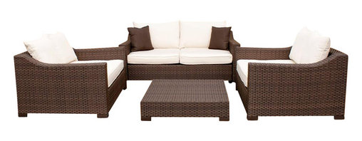 Amazonia - Oxford Garden 4 Pc Sofa Set w Off-white Cushions - Set includes Table, Sofa, and 2 Arm Chairs. Aluminum and Synthetic Wicker frame. Dark Brown Wicker. Off-white Cushion. Free feron gard vinyl preservative for longest strap durability. It works great against the effects of air pollution salt air, and mildew growth. For best protection, perform this maintenance every season or as often as desired. Great functionality. Cushions are included. Water Repellent Polyester Cushions. Some assembly required. Warranty: 1 year. Sofa: 74 in. W x 43 in. D x 27 in. H. Arm Chair: 51 in. W x 43 in. D x 27 in. H. Table: 39 in. W x 39 in. D x 9 in. HGreat quality, stylish design patio sets, made of aluminum and synthetic wicker. Polyester cushion with water repellant treatment. Enjoy your patio with elegance all year round with the wonderful Atlantic outdoor collection.