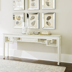 Ballard Designs - Lily Console - Perfect as a server. Crisp geometric details. Crafted of engineered hardwood & veneers. We love to layer in Asian-inspired pieces like our Lily Console to give any room a global, collected flavor. Designed in the timeless Chinoiserie style, it's hand finished all the way around, so you can float out into the room. Lily Console features: . . .