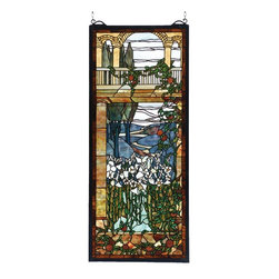 Meyda Tiffany - Victorian Peace Balcony Window Panel - Includes solid brass hanging chain and brackets. Made from hand cut glass individually wrapped in copper foil. 17 in. W x 40 in. H (39 lbs.). Care InstructionsMeyda's interpretation of Louis comfort tiffany's peace balcony window is a beautiful selection of stained art glass in neutral tones of earth browns, verdant greens, russet and sky blue were hand selected to create this masterpiece.