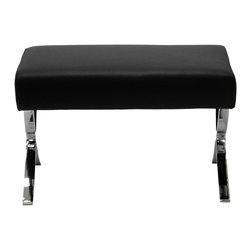 Euro Style - Euro Style Pietro Black Ottoman - A perfectly valid throne for a small pet; the Pietro Ottoman is also the ideal extension of the Pietro Lounge concept. Simple. Beautifully sculpted legs. This one says put your feet up and stay a while. Euro Style is more than a brand name – it is a complete design approach.  The ever-growing furniture collections for living room bar dining room and office bring cutting-edge contemporary style from Euro Style's designers in Europe and factories in Italy and Asia. Euro Style has continued to grow focusing on the latest in contemporary design. Today Euro Style occupies 30000 square feet of permanent showroom space in both the High Point North Carolina and Las Vegas Nevada markets and also shows during the four major Hospitality/Contract Markets in the US. Euro Style manufacturers and distributes RTA modern furniture with factories in Italy and East Asia. Euro Style occupies a warehouse in Union City California of more than seventy thousand square feet and ships next day after order confirmation. Features include Upholstered in soft genuine leather Stainless steel arms and base Durable leather Classic mid-century design Matching lounge chair.