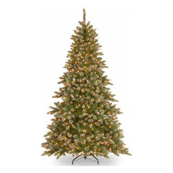 7 1/2 Ft. Glittery Spruce Christmas Tree w/ Cones & 750 Clear Lights - Measures 7.5 feet tall with 57 inch diameter. Pre-lit with 750 UL listed, pre-strung Clear lights. Tip count: 1497. Trimmed with red berries and pine cones. All metal hinged construction (branches are attached to center pole sections). Comes in three sections for quick and easy set-up. Includes sturdy folding metal tree stand. Light string features BULB-LOCK to keep bulbs from falling out. If one bulb burns out the others remain lit. Fire-resistant and non-allergenic. Includes spare bulbs and fuses. 5-year tree warranty / 2-year lights warranty. Packed in reusable storage carton. Assembly instructions included.