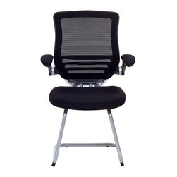 Modway - Modway EEI-786 Edge Reception Chair in Black - Welcome to a new era in functional comfort. This guest version of the best-selling Expedition chair combines some of the best features of the original with an inviting sled mount. If you are outfitting a waiting or reception room, and want to impart a great first impression, you'll want to think seriously about the Expedition. The mesh fabric seat is finely upholstered and padded for comfort. Other highlights include armrests that easily flip up for easy entry and exit, and a mesh seat back with natural lower lumbar support. Don't settle for less when it comes to the presentation and decor of your office.