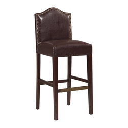 "Linon Home Decor - Linon Home Decor Manor Bar Stool Blackberry X-U10REBB406220 - Traditional in style, the Manor Blackberry Bar Stool has a sophisticated design and style. The seat back has an arching top and is accented with burnished bronze nail head trim. The plush Blackberry PU upholstered seat makes sitting comfortable. Straight lined legs have a rich Manhattan finish and are accented with a charming bronze kickplate on the front rung. Perfect for a traditional or transitional styled bar, counter or high top table. 30"" Seat Height. 275 pound weight limit."