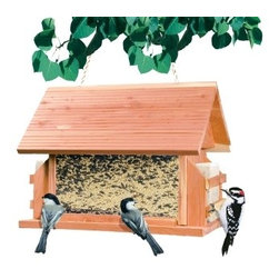 Perky Pet - The Lodge - Features two 12-ounce Cedar Suet Baskets to attract a greater selection of birds. A large 8-pound capacity. Hanging rope included.