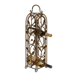 Woodland Imports - Woodland Imports Vino 5 Bottle Metal Wine Rack Multicolor - 99566 - Shop for Wine Bottle Holders and Racks from Hayneedle.com! The Woodland Imports Vino 5 Bottle Metal Wine Rack provides a touch of traditional charm to your wine collection and bar decor. Constructed of solid metal with an antiqued bronze finish this standing wine rack can be used as a floor display or portable wine caddy.