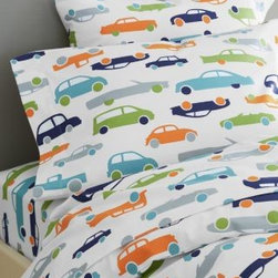 Garnet Hill - Garnet Hill Graphic Traffic Flannel Kids' Bedding - Standard - Pillowcases - Tra - Sure to be a big hit, these supersoft pure cotton flannel sheets for kids feature a collection of iconic cars that will be forever awe-inspiring, from sports cars to vintage roadsters. Fitted sheet is fully elasticized for a better fit. Portugal.  Twinbedding set includes 1 flat sheet, 1 fitted sheet and 1 standard case. Double and Queen sets include 1 flat sheet, 1 fitted sheet and 2 standard cases.