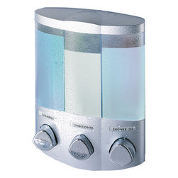 Trio Dispenser, Satin Silver Translucent Container,  Translucent Container With - The Euro series of soap and shower dispensers are beautiful solutions for the messy problem of bottle clutter. The Uno is easy to install and easy to use. It is the perfect accessory and a great application for bathroom, laundry room and kitchen sinks!