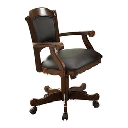 Adarn Inc - Turk Arm Game Chair with Casters and Fabric Seat and Back - This lovely arm chair will be a nice addition to your game room or casual dining area. The chair has a regal traditional style, with convenient casters at the base for mobility. The wood framed chair back and seat are padded and covered in a soft dark fabric, adding comfort to these solid oak chairs. Scrolled arms and a shaped apron in a warm medium finish are gorgeous details, making this caster arm chair the perfect fit for your home. Pull these chairs up to the matching game table for hours of fun with family and friends.