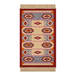 Reversible Authentic Kilim Rug / Size 2x3 - Rug of Ages Collection (Bulls Eye) - Brand: Rugs of Ages
