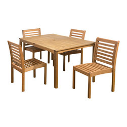 International Home Miami - Amazonia Eucalyptus 5 Piece Armless Rectngular Dining Set - Eucalyptus 5 Piece Armless Rectngular Dining Set belongs to Amazonia Collection by International Home Miami Great Quality, elegant design patio set, made of solid eucalyptus wood. FSC (Forest Stewardship Council) certified. Enjoy your patio with style with these great sets from our Amazonia outdoor collection.  Table (1), Chair (4)