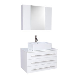 "Fresca - Fresca Modello White Vanity w/ Marble Countertop - Dimensions of vanity:  32""W x 19.75""D x 25.63""H. Dimensions of medicine cabinet:  31.5""W x 23.63""H x 6""D. Materials:  Solid Oak wood, ceramic sink with overflow, marble countertop. Soft closing drawers. Single hole vessel faucet mount. P-trap, faucet, pop-up drain and installation hardware included. The Modello is perfect for smaller spaces.  Clean lines and simple chrome hardware compliment the combination of white and chrome.  Comes complete with medicine cabinet and marble countertop."