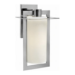 """Hinkley - Contemporary Hinkley Colfax 19 1/4""""H Halogen Steel Outdoor Wall Light - This chic large geometric outdoor wall light features intersecting planes of solid aluminum in a sleek polished stainless steel finish. An inviting etched opal glass cylinder diffuses the glow from an energy-efficient halogen bulb and enhances the handsome look. Attaches to the wall with a matching rectangular back plate. A beautiful fixture from Hinkley outdoor lighting. Sleek large energy-efficient outdoor wall light. Polished stainless steel finish. Solid stainless steel construction. Etched opal glass cylinder. Includes one 26 watt GU24 halogen bulb. 9 1/2"""" wide. 19 1/4"""" high.   Sleek large energy-efficient outdoor wall light.  Polished stainless steel finish.  Solid stainless steel construction.  Etched opal glass cylinder.  California Title 24 compliant.  Includes one 26 watt GU24 halogen bulb.  9 1/2"""" wide.  19 1/4"""" high."""