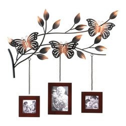 KOOLEKOO - Butterfly Frames Wall Decor - The most lovely way to display three of your favorite family photos! A trio of wood picture frames hang from a metallic branch blooming with leaves and home to three gorgeously detailed butterflies. This fabulous wall decor will turn your favorite photo memories into an absolutely stunning focal point.