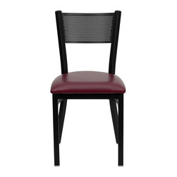 Flash Furniture - Flash Furniture Hercules Series Metal Chair in Burgundy Vinyl - Flash Furniture - Dining Chairs - XUDG60115GRDBURVGG - Provide your customers with the ultimate dining experience by offering great food, service and attractive furnishings. This heavy duty commercial metal chair is ideal for restaurants, hotels, bars, lounges, and in the home. Whether you are setting up a new facility or in need of a upgrade this attractive chair will complement any environment. This metal chair is lightweight and will make it easy to move around. For added comfort this chair is comfortably padded in vinyl upholstery. This easy to clean chair will complement any environment to fill the void in your decor. [XU-DG-60115-GRD-BURV-GG]