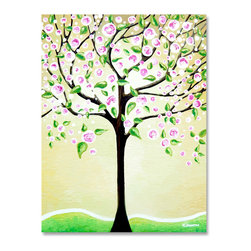 """Tree Art Cherry Tree Original Painting Wall Art - This beautiful """"Cherry Tree"""" original acrylic painting on canvas is my unique one of a kind, hand painted tree art. This artwork will make a very unique and special gift for any occasion: Mother's Day, Wedding, Anniversary, Birthday...."""