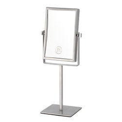 Nameek's - Double Face Chrome Magnifying Mirror - This double face makeup mirror has a 3x magnification and comes in a chrome finish. The mirror faces have a 6.3 inch width and a 8.5 inch height. It is a contemporary, Italian design mirror that is made from high quality stainless steel.