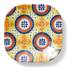 Q Squared NYC - Montecito Blue Appetizer Plate, Tile Set/6 - Transport your dining table to historical Montecito with the beautiful, vibrant colors of this collection, inspired by the intricate tiles and textures of the romantic city.