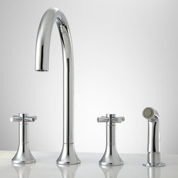 Bendrix Widespread Kitchen Faucet with Side Spray - A gently flared base complements the Bendrix Widespread Kitchen Faucet with Hand Spray.