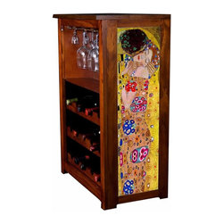 Kelseys Collection - Wine Cabinet 15 bottle The Kiss by Klimt - Wine Cabinet stores fifteen wine bottles and glassware with licensed artwork by Kim Drew giclee-printed on canvas side panels  The frame, top, and racks are solid New Zealand radiata pine with a hand stained and hand rubbed medium reddish brown finish, which is then protected with a lacquer coat and top coat. The art is giclee printed on canvas with three coats of UV inhibitor to protect against sunlight, extending the life of the art. The canvas is then glued onto panels and inserted into the frames.