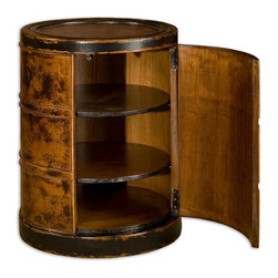 Uttermost - Uttermost Lawton Storage Drum Table 25522 - Solid, plantation-grown mango wood finished by hand in dark cinnamon with black rubbed edges. Hinged door with two adjustable shelves.