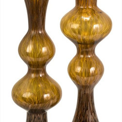 "Imax Worldwide Home - Marcellus Glass Mirroring Vases - Set of 2 - Metallic specks resonate through the amber tones of this variegated set of Marcellus glass mirroring vases.; Country of Origin: China; Weight: 11.5 lbs; Dimensions: 23.75""h x 7.5""d"