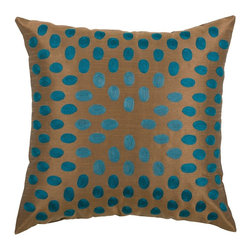 "Peacock Blue and Brown Dot Pillows, Set of 2 - *18"" x 18"" Pillow with Hidden Zipper"