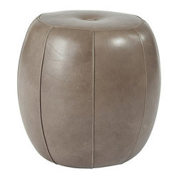 Leather Pouf, Graphite - For a twist on the pouf trend, look no further than this leather piece from Ballard Designs. Striking a balance between sturdy and sweet, it will make the rounds throughout your home.