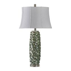 Contemporary Sea Green Glazed Ceramic Lamp - Contemporary Sea Green Glazed Ceramic Lamp With Silk Blend Shade