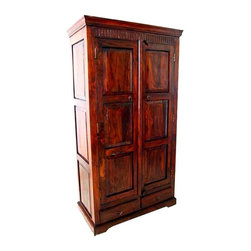 Rustic Solid Wood Armoire Cabinet With 2 Storage Drawers - Grand Solid Indian Rosewood Armoire with a large Cabinet and two storage drawers.