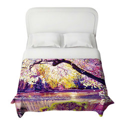 DiaNoche Designs - Duvet Cover - Central Park Spring Pond - Lightweight and super soft brushed twill Duvet Cover sizes Twin, Queen, King.  Cotton Poly blend.  Ties in each corner to secure insert. Blanket insert or comforter slides comfortably into Duvet cover with zipper closure to hold blanket inside.  Blanket not Included. Dye Sublimation printing adheres the ink to the material for long life and durability. Printed top, khaki colored bottom, Machine Washable, Product may vary slightly from image.