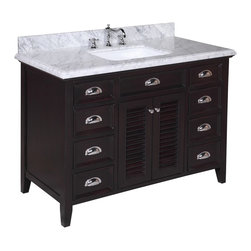 Kitchen Bath Collection - Savannah 48-in Bath Vanity (Carrara/Chocolate) - This bathroom vanity set by Kitchen Bath Collection includes a chocolate cabinet with self-closing doors and soft-close drawers, stunning Carrara marble countertop with double-thick beveled edges,undermount ceramic sink, pop-up drain, and P-trap. Order now and we will include the pictured three-hole faucet and a matching backsplash as a free gift! All vanities come fully assembled by the manufacturer, with countertop & sink pre-installed.
