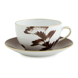 MIchael Devine Ltd - Charlotte Breakfast Cup And Saucer, Chocolate - Beautifully hand painted using the stunning Charlotte fabric as inspiration, this oversized cup and coordinating saucer are ideal for café au lait or hot chocolate. This item made to order please allow 6-8 weeks delivery and there returns.