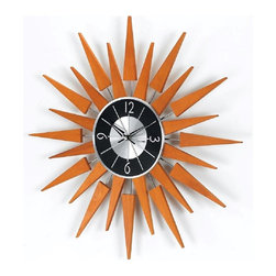 George Nelson - Wooden Sunburst Clock - Requires one AA battery, not included. High quality quartz movement. Made in Taiwan. Made from wood and metal. 19.38 in. Dia. (1.54 lbs.)This wood starburst clock is inspired by George Nelson. This Starburst Wall Clock which will make a fascinating focal point and integral part of any room. It is made of sold pieces supported by metal rods in silver finish. Cool center clock features cool black and silver combine.