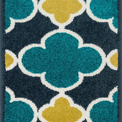 "Loloi Rugs - Loloi Rugs Terrace Collection - Navy / Teal, 1'-8"" x 5' - Bold design and bright colors come together beautifully in the outdoor-friendly Terrace Collection. Each Terrace rug is power loomed in Egypt of 100% polypropylene that's specially treated to withstand rain and UV damage without staining or fading color.�"