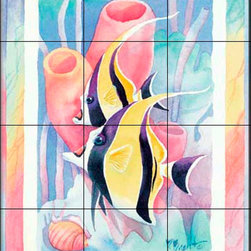 The Tile Mural Store (USA) - Tile Mural - Moorish Idol Duo - Kitchen Backsplash Ideas - This beautiful artwork by Paul Brent has been digitally reproduced for tiles and depicts colorful Moorish Idols.  This tile mural featuring fish and sea life would be perfect as a part of your kitchen backsplash tile project or your tub and shower surround bathroom tile project. Images of tropical fish on tile make a fantastic kitchen backsplash idea and are great to use in the bathroom too for your shower tile project. Consider a tile mural of sealife and fish for any room in your home where you want to add wall tile with interest.