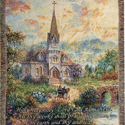 Manual - Holy Holy Holy Christian Church Tapestry Blanket 50 Inch x 60 Inch - This multicolored woven tapestry throw blanket is a wonderful addition to any home. Made of cotton, the blanket measures 50 inches wide, 60 inches long, and has approximately 1 1/2 inches of fringe around the border. The blanket features a depiction of a horse-drawn carriage taking its passengers to church, with 'Holy, holy, holy Lord God Almighty All thy works shall praise thy name in earth and sky and sea.' printed underneath. Care instructions are to machine wash in cold water on a delicate cycle, tumble dry on low heat, wash with dark colors separately, and do not bleach. This comfy blanket makes a great gift for friends and family.