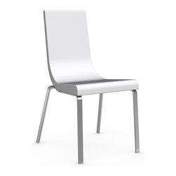 Calligaris - Cruiser Leather Chair, Satin Frame, Optic White Seat, Set of 2 - Polyurethane Foam