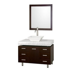 """Modern Bathroom - Malibu 36"""" Single Bathroom Vanity Set by Wyndham Collection - Espresso Finish wi - The Malibu 36"""" Single Bathroom Vanity Set in Espresso finish is one of the newest additions to the Wyndham Collection Designer Series by Christopher Grubb. It stands tall among contemporary bathroom vanities and demands the attention modern bathroom design evokes. This amazing single vanity comes complete with ample storage space and statement making counter, and customizable handles. Its thick natural stone counter expand the glamour and modern design of this vanity, and will transform your bathroom into a contemporary masterpiece. Each counter is custom made with abundant natural stone facing in Ivory Marble, White Carrera Marble, Black Granite, or CaesarStone. This is a CG Collection original design, and is therefore only available in very limited numbers. Incredibly, this price is for the vanity, sink, mirror and FREE SHIPPING! Counters are pre-drilled for single-hole faucets. Please contact us for 3-hole faucets. Also available with multiple countertops, sizes, and options. The vanity is completely finished and without handles attached. This allows custom placement of all 7 handles or only as many as you desire, because each door and drawer can be opened without a handle. Features Constructed of beautiful veneers over the highest grade MDF Cutting edge, unique styling by Interior Designer Christopher Grubb 8-stage painting and finishing process Floor-standing vanity Fully-extending under-mount soft-close drawer slides Deep doweled drawers Soft-close concealed doors hinges Single-hole faucet mount Faucets not included Brushed Steel finish legs and counter supports Stunning custom-ordered natural marble """"floating"""" 4"""" deep counter Includes choice of porcelain or optional granite vessel sink Includes matching mirror 1 door, 6 drawers How to handle your counter Spec Sheet for vanity Spec Sheet for Claire Rotating Wall Cabinet with mirror (WC-B802) Spec Sheet for Sara"""