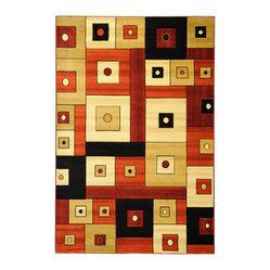 Ottomanson - Multi-Color Contemporary Boxes Design Rug - Moderno Collection offers a wide variety of machine made modern design hand-carved area rugs with high, durable, stain-resistant pile in trendy colors.