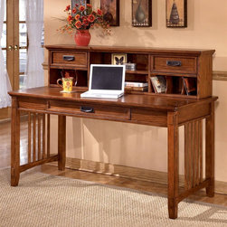 Signature Design by Ashley - Mission Style Writing Desk w Low Hutch - This stylish set will add storage to any home office while providing visual appeal that will compliment virtually any d̩cor. Features a large legged desk with matching low hutch which has open and closed storage facilities for all your supplies and equipment. Both items have a warm oak finish. Set includes: Large Credenza and Large Leg Desk. Color/Finish: Dark Oak Stained. Traditional mission styling with a medium brown oak stained finish. Constructed with oak veneers and hardwood solids. Desk hutch features light and closed storage. Pull-out keyboard tray is covered with black PVC for durability. Large Credenza: 61 in. W x 22 in. L x 30 in. H. Large Leg Desk: 60 in. W x 28 in. L x 30 in. H