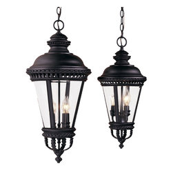 Murray Feiss - Murray Feiss Castle Traditional Outdoor Hanging Lantern X-KB1191LO - The Murray Feiss Castle Traditional Outdoor Hanging Lantern transports guests and family to the days of Sir Lancelot and King Arthur! This pendant light features Clear Bent Beveled Glass framed by die cast Aluminum in a Black finish, for a Renaissance flair that complements many architectural styles.
