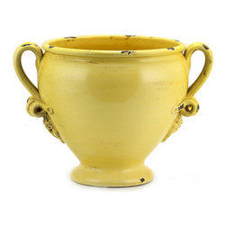 Artistica - Hand Made in Italy - SCAVO CLASSICO: Footed Cachepot w/2 handles YELLOW - SCAVO CLASSICO: Combining simplicity and elegance for your home and Garden...