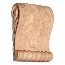 "Inviting Home - Memphis Large Wood Corbel - Cherry - wood corbel in cherry 6-5/8""H x 2-1/2""D x 4-5/8""W Corbels and wood brackets are hand carved by skilled craftsman in deep relief. They are made from premium selected North American hardwoods such as alder beech cherry hard maple red oak and white oak. Corbels and wood brackets are also available in multiple sizes to fit your needs. All are triple sanded and ready to accept stain or paint and come with metal inserts installed on the back for easy installation. Corbels and wood brackets are perfect for additional support to countertops shelves and fireplace mantels as well as trim work and furniture applications."