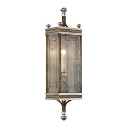 Fine Art Lamps - Villa Vista Sconce, 808150ST - This traditional-style lantern sconce takes on an atmospheric hue with soft, misty touches like the hand-painted driftwood finish and handblown seedy glass panels that sparkle with subtle texture. The old-fashioned candle-style light gives a diffused, rippling glow through the glass panels like a lighthouse. It's perfect for the entrance or patio deck.
