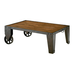 Hammary - Hammary Home Americana Industrial Cart Cocktail Table - The distressed texture of the Hammary Home Americana industrial cart cocktail table adds to the ambiance of casually elegant living Spaces. Finished in warm khaki and featuring gentle shapes and warm highlights in the wood, this accent-piece is reminiscent of an 19th century industrial cart. Quality craftsmanship will ensure the place of this-piece on the list of family heirlooms.
