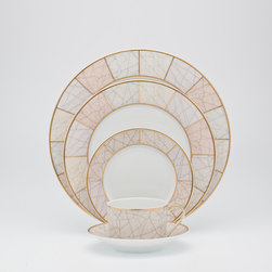 Royal Limoges Pompeii Dinnerware - With an ancient roman ceramic design and mat gold filet, this dinnerware designed by Larry Laslo is a classic look for the table.
