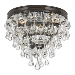 Crystorama - Calypso Flush Mount - Clear smooth glass balls accents with finish on a brass frame. Takes 3 - 60 w/c bulbs.