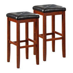 Modern Marketing Upholstered Square Seat Bar Stools - Set of 2 - The Upholstered Square Seat Bar Stool - 29 in. - Set of 2, is sturdy, featuring solid hardwood construction. The cushioned seat is upholstered in stain- and spill-resistant simulated leather. The 24-inch height make this stool perfect for a 42-inch height dining table or counter seating. Available in 3 finish colors. Stool dimensions: 15L x 15W x 29H inches. Please note: This item is not intended for commercial use. Warranty applies to residential use only.